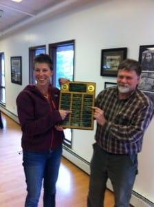 Tongass National Forest Silvicuturist Sheila Spores presents R.D. Parks with the 2013 silviculturist of the year award. (Photo courtesy of Carol Lagodich, USFS)
