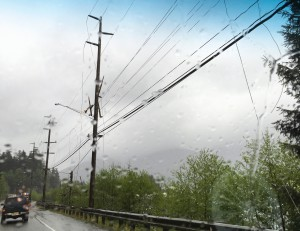 Kim Whalen sent KRBD radio in Ketchikan this photo of downed power lines in the Ward Cove area.
