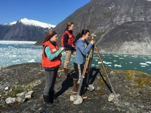 Alexandra Bless, Chauncy Sandhofer and Emma Chase survey points on LeConte Glacier this month. (Photo courtesy of Jon Kludt-Painter)