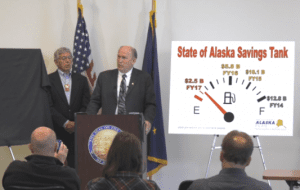 Gov. Bill Walker announced vetoes totaling $1.29 billion at a press conference in Anchorage on Wednesday, June 29, 2016. (Screenshot via web stream courtesy Gov. Walker's office)