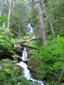 A waterfall on Portage Mountain in the Petersburg Creek-Duncan Salt Chuck wilderness on Kupreanof Island. (KFSK file photo)