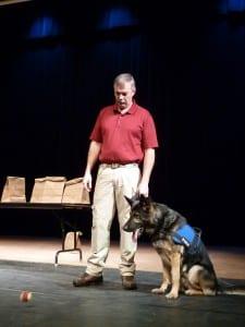 Petersburg school students  met a drug dog and his Juneau handler in 2011. (KFSK file photo)
