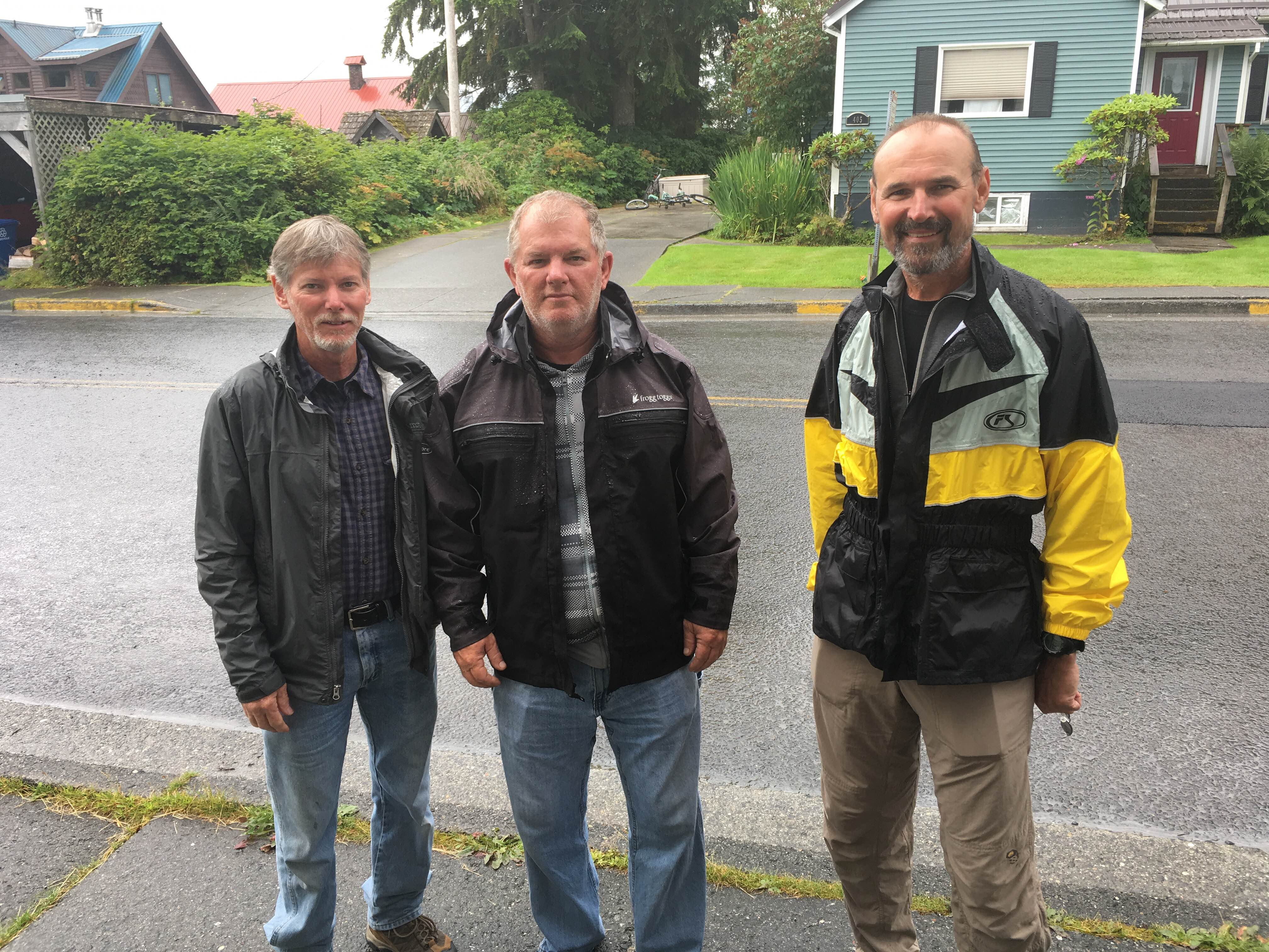 Joe Yuhas and brothers Steve and Larry Banwart were stranded in Petersburg after the Columbia ferry broke down on Wednesday. (Photo/Abbey Collins)