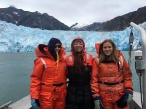 Svea, Vilja and Jillian went on a glacier tour near Petersburg.  (photo/Bridget Wittstock)