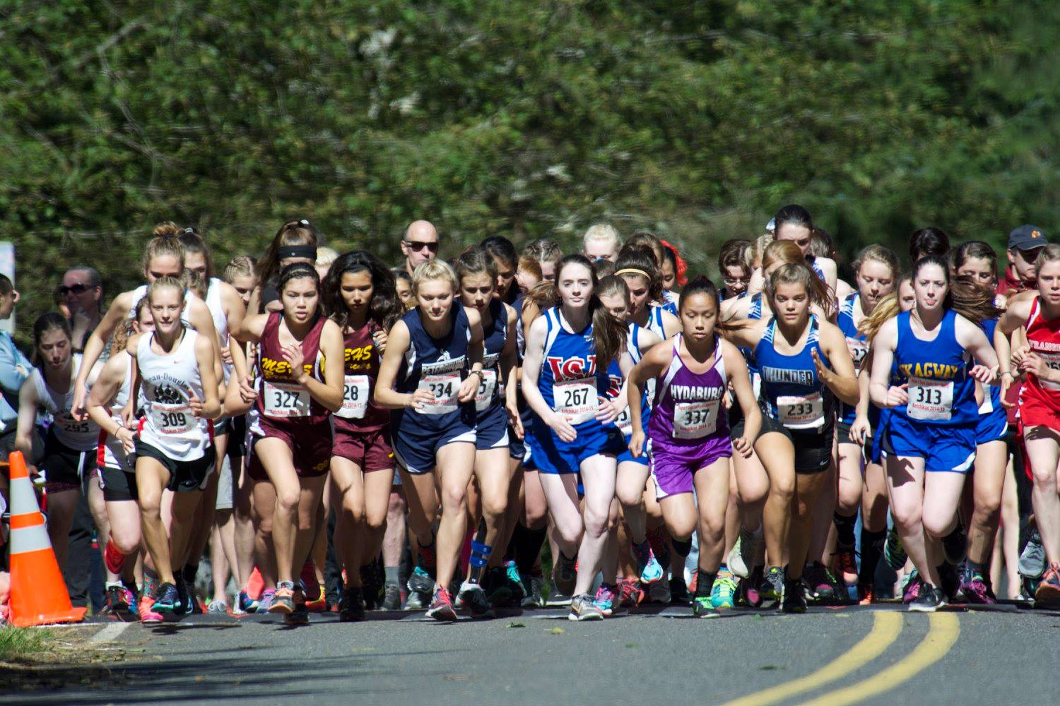 PHS runner Kayleigh Eddy, #234, leads at the start of Saturday's race in Ketchikan. (Photo courtesy of Brad Taylor and PHS cross country)
