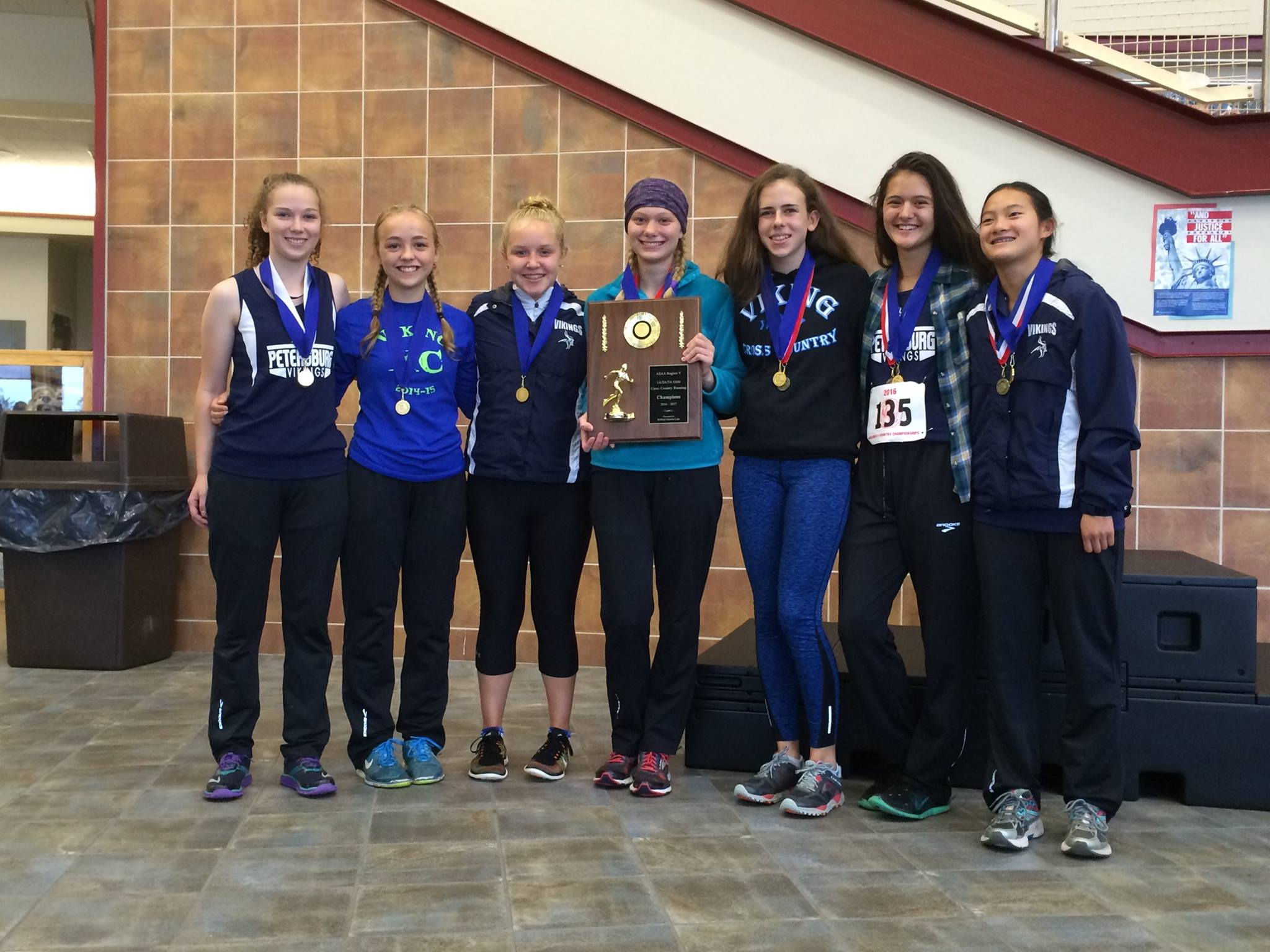 The region champ PHS cross country team from left, Shlya Cook, Eva Lenhard, Meghyn Parker, Kayliegh Eddy, Erin Pfundt, Julia Murph, and Melanie Chase (Photo courtesy of PHS cross country)