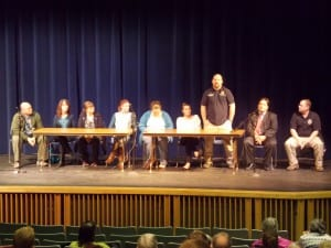 A panel of health, professions. law enforcement and former drug users answered questions at Petersburg's Wright Auditorium Wednesday, September 28th. From left, Mark Tuccillo, Susan Ohmer, Erica Worhatch, Rashele Wilsonoff, Casey DenAdel, Kate Einerson, Kalin Rosse, Jack Schmidt and Kelly Swihart.