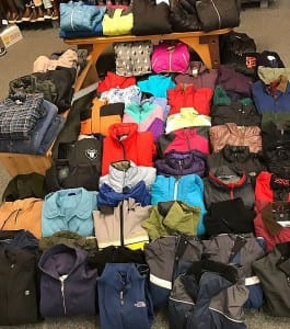 These coats are going to be given away this Saturday at the Salvation Army Community Hall. Photo courtesy of Lee's Clothing
