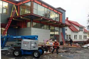 Renovation continues at Petersburg's Municipal Building Jan. 18, 2017. (Photo by Ed Schoenfeld/ CoastAlaska News)