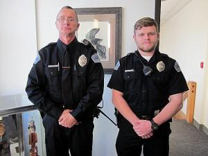 David Plagens (left) and Luis Waechter were sworn in as Petersburg police officers Jan. 3. Photo/Angela Denning