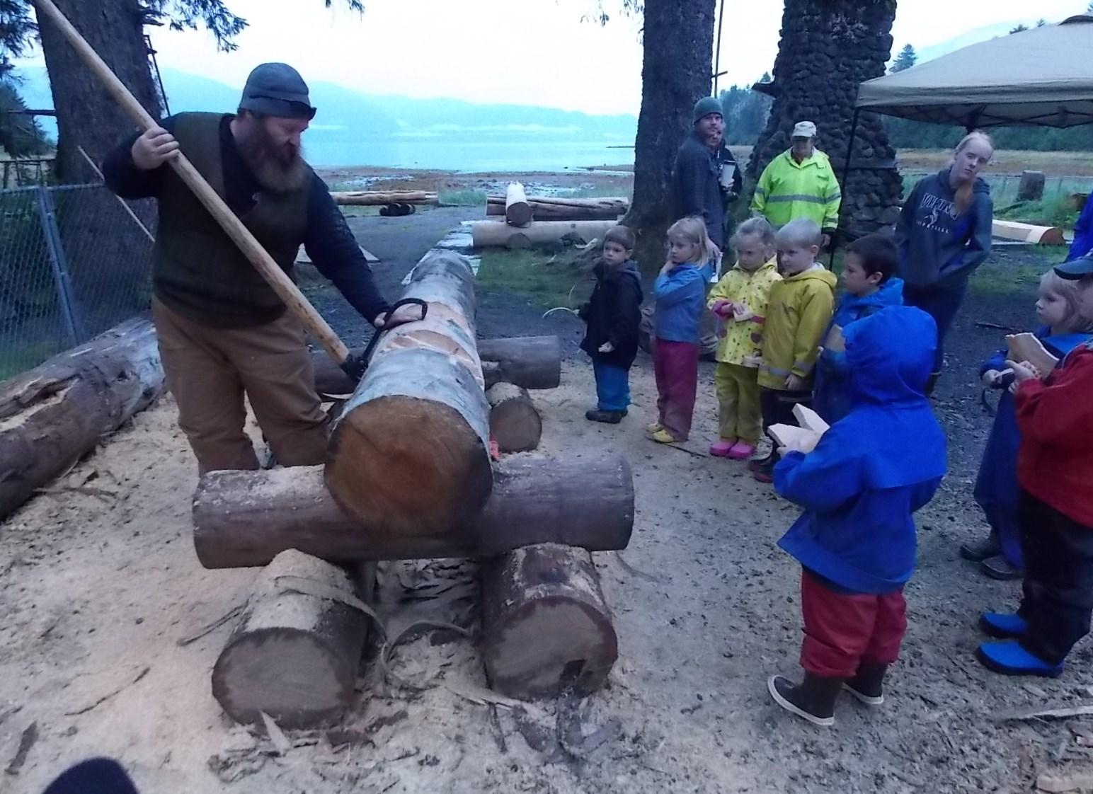 Children's center kids tour log shelter project