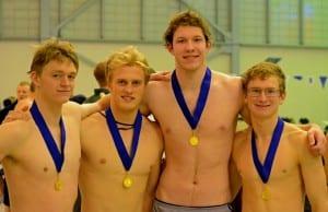Winners of the 200 yard freestyle relay (L-R) Ian Fleming, Evan Marsh, Abel Aulbach, Skipper Erickson. Photo/Doug Fleming