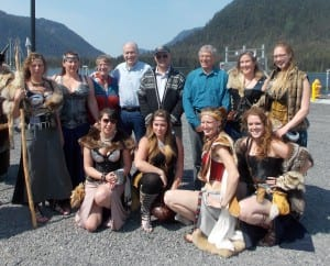 Vice mayor Cindi Lagoudakis, Governor Bill Walker, mayor Mark Jensen and Lieutenant governor Byron Mallot pose for with Little Norway festival valkyries at the drive down dock Saturday.