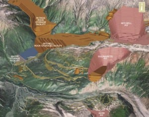 The KSM project's mine site layout during the operation phase, from its environmental assessment certificate application. (Image courtesy Seabridge Gold)