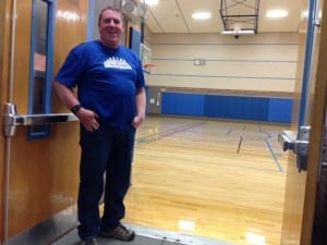 Parks and Rec Director Donnie Hayes stands near the newly surfaced community gym. Photo/Angela Denning
