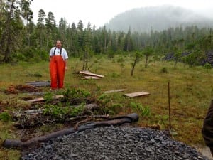 Nick Corpela with Corpela Construction out of Hyder is creating phase two of the trail. Photo/Angela Denning