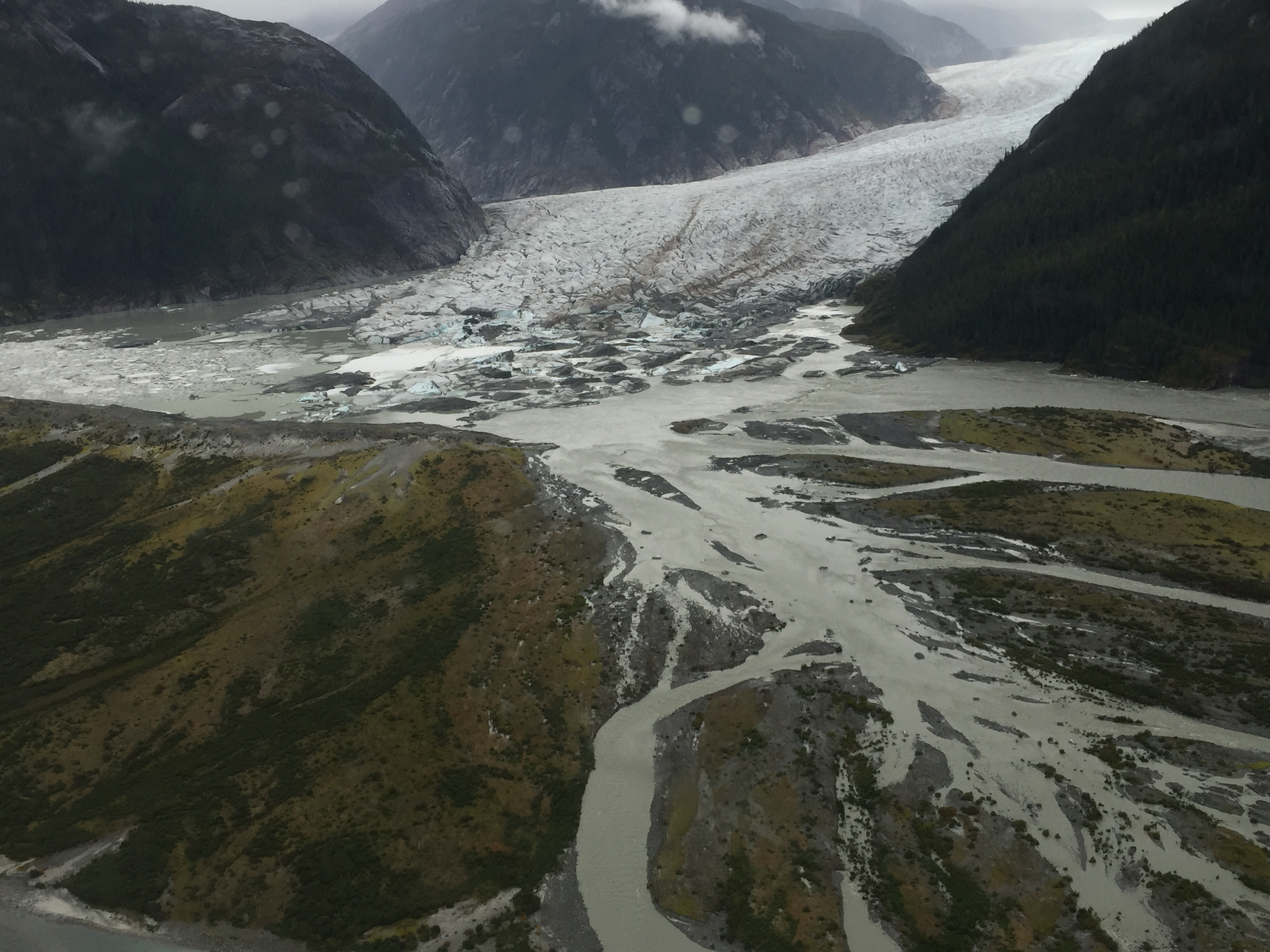 Flooding at Baird Glacier spreads green water
