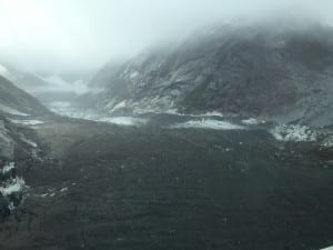 Here a drained area at Baird Glacier is seen from the air. Photo/Karen Dillman