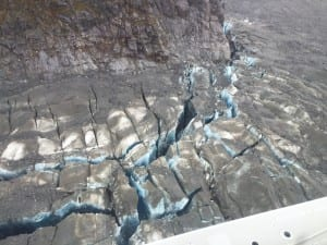 New crevasses at Baird Glacier are seen from the air. Photo/Karen Dillman