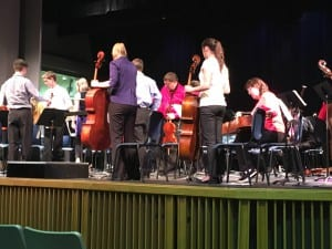 The Juneau Strings Ensembles on stage in the Wright Auditorium (photo/Abbey Collins)