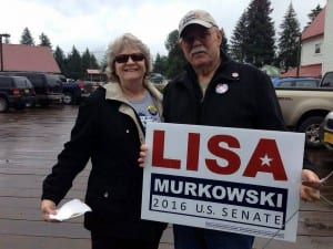Petersburg Democrats, Sally and Al Dwyer, are supporting Murkowski in this race. Photo/Angela Denning