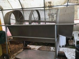 The composting machine is stored at the Petersburg dump. (photo/Abbey Collins)