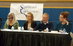 The Maritime Works panel sits in front of the Southeast Conference gathering, Sept. 20, in Petersburg. (from left) Kris Norosz, Julie Decker, Doug Ward, Cari Ann Carty. Photo/Angela Denning