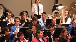 Senior Nathaniel Lenhard plays the trombone and Junior Brandon Ware plays the tuba in the All-State Band. Photo courtesy of Matt Lenhard