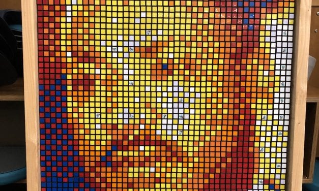 Fifth graders display Martin Luther King mural made of Rubik's cubes