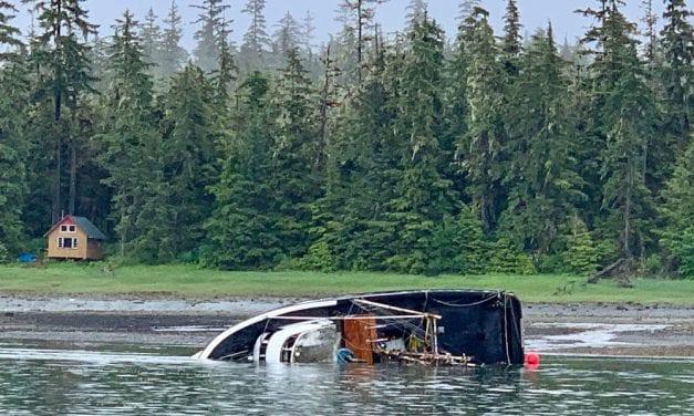 Boat sinks in Wrangell Narrows south of Petersburg