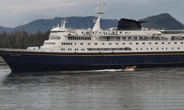 Skiff capsizes from ferry Columbia's wake in Wrangell Narrows